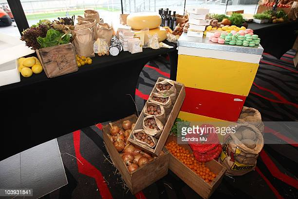 New Zealand food is displayed for tasting during the RWC 2011 One Year To Go celebrations at Eden Park on September 9 2010 in Auckland New Zealand