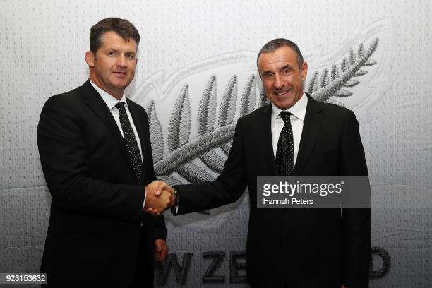 New Zealand Football CEO Andy Martin shakes hands with newly appointed All Whites head coach Fritz Schmid following a press conference at QBE Stadium...
