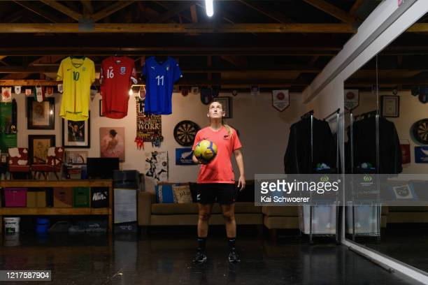 New Zealand Football Ferns player Annalie Longo poses during a training session in isolation in her garage on April 08 2020 in Christchurch New...