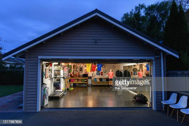 New Zealand Football Ferns player Annalie Longo training in isolation in her garage on April 08 2020 in Christchurch New Zealand New Zealand has been...