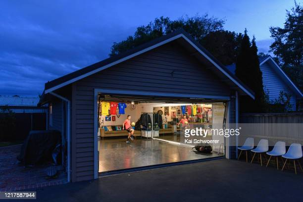 New Zealand Football Ferns player Annalie Longo training in isolation in her garage on April 08, 2020 in Christchurch, New Zealand. New Zealand has...