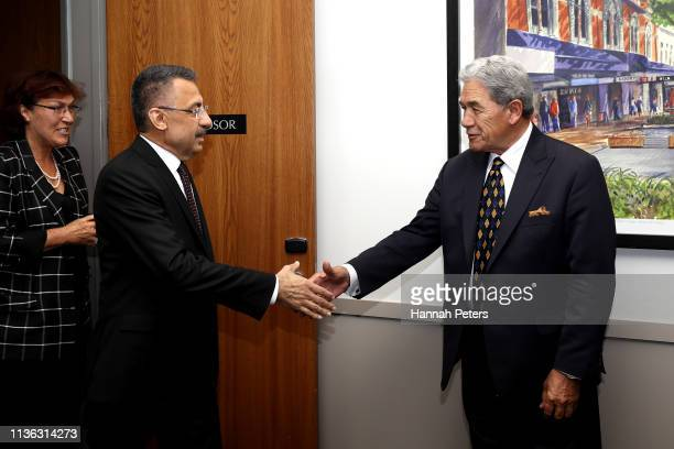 New Zealand Foreign Affairs Minister Winston Peters greets Vice President of Turkey, Fuat Oktay on March 17, 2019 in Christchurch, New Zealand. Vice...