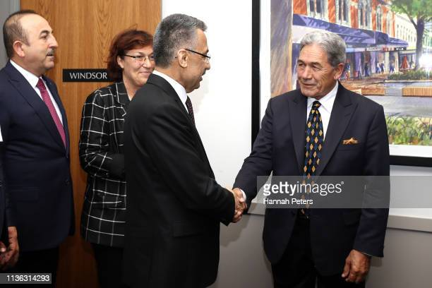 New Zealand Foreign Affairs Minister Winston Peters greets Vice President of Turkey, Fuat Oktay and Turkish Minister of Foreign Affairs, Mevlut...