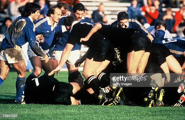 New Zealand forwards ruck over the ball during the 1987 Rugby World Cup Pool 3 match between New Zealand and Italy at Eden Park on May 22 1987 in...