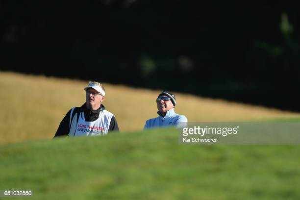 New Zealand Golf Open organising committee chairman John Hart looks on during day two of the New Zealand Open at Millbrook Resort on March 10 2017 in...