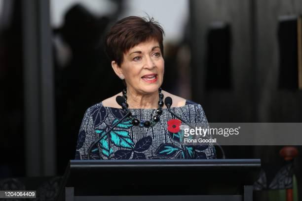 New Zealand Govenor General Dame Patsy Reddy speaks at Te Rau Aroha on February 05 2020 in Waitangi New Zealand The $146 million Maori Battalion...