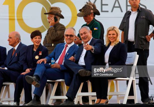 New Zealand Governor General Patsy Reddy Australian Prime Minister Malcolm Turnbull Israeli Prime Minister Benjamin Netanyahu and his wife Sara watch...