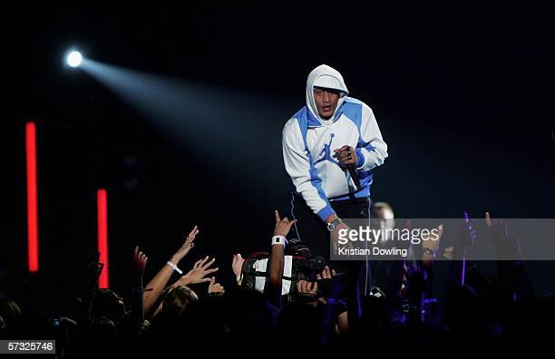 New Zealand Hip Hop Artist Scribe perform Medley during the second MTV Australia Video Music Awards at the Sydney SuperDome April 12 2006 in Sydney...