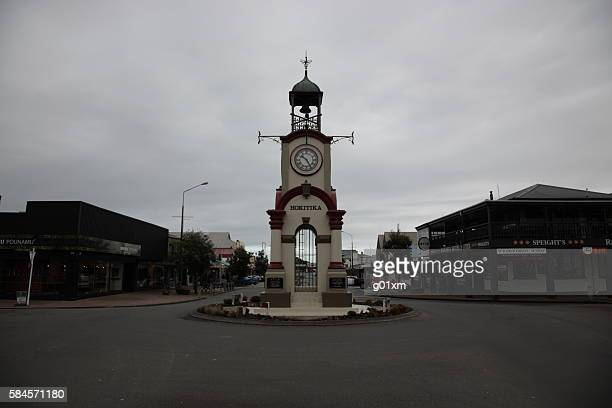 New Zealand Hokitika Clock Tower and town center in winter