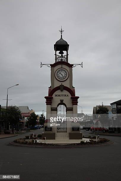 New Zealand Hokitika Clock Tower and town center in winter