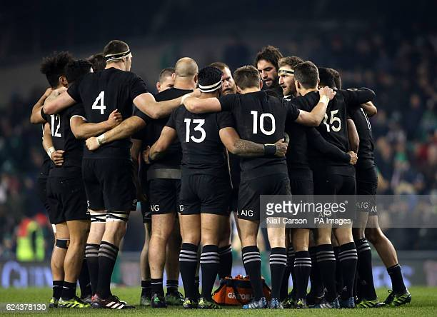New Zealand huddle up prior to the start of the second half during the Autumn International match at the Aviva Stadium Dublin