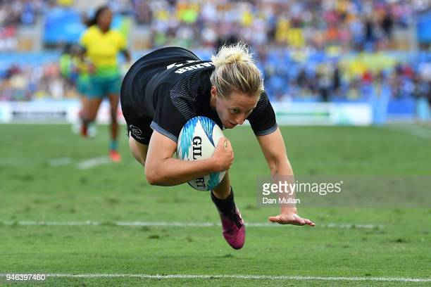 New Zealand Kelly Brazier scores the winning try in the Women's Gold Medal Rugby Sevens Match between Australia and New Zealand on day 11 of the Gold...
