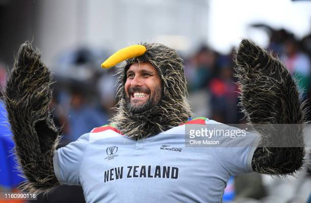 New Zealand Kiwi fan is pictured during the SemiFinal match of the ICC Cricket World Cup 2019 between India and New Zealand at Old Trafford on July...
