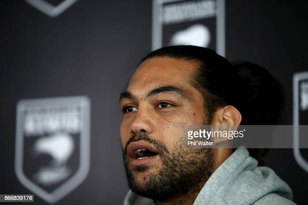 New Zealand Kiwi's Captain Adam Blair speaks during a New Zealand Kiwis Rugby League World Cup Press Conference at the Grand Mercure on October 27...
