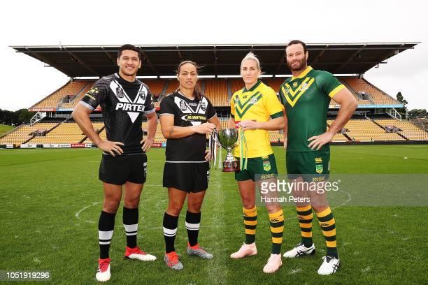 New Zealand Kiwis captain Dallin Watene Zelezniak New Zealand Kiwi Ferns captain Honey Hireme Australian Jillaroos captain Ali Brigginshaw and...