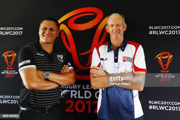 New Zealand Kiwis coach David Kidwell and England coach Wayne Bennett pose for a photo following a Rugby League World Cup press conference at Mt...