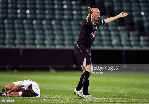 New Zealand Knights Neil Emblen protests a penalty after he tripped Perth Glory's Naum Sekulovski during the round five A-League match between the...