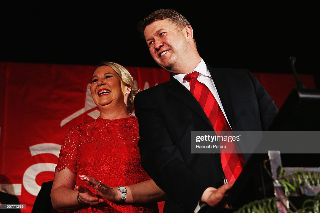 New Zealand Labour leader David Cunliffe and his wife Karen Price thank the audience after he concedes defeat in the 2014 New Zealand election at New Lynn Community Centre on September 20, 2014 in Auckland, New Zealand. National Party leader John Key has been re-elected as the 39th Prime Minister of New Zealand after defeating Labour opposition leader David Cunliffe in today's New Zealand election.