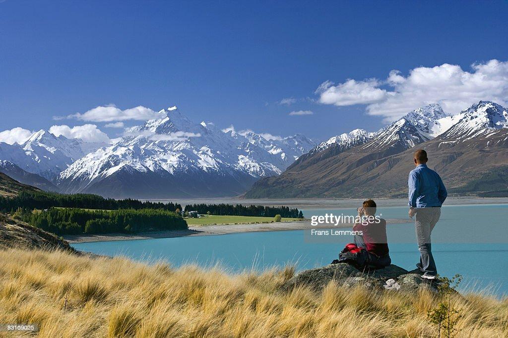 New Zealand, Lake Pukaki and Mount Cook. : Stock Photo