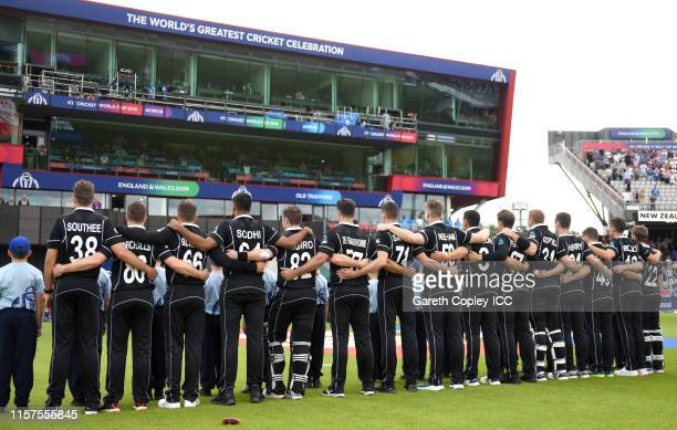 New Zealand line up for the national anthems ahead of the Group Stage match of the ICC Cricket World Cup 2019 between West Indies and New Zealand at...