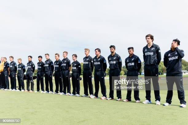 New Zealand line up for their national anthem prior to the ICC U19 Cricket World Cup match between New Zealand and Afghanistan at Hagley Oval on...