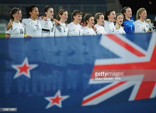 New Zealand lineup before the FIFA U17 Women's World Cup Group C match between New Zealand and Venezuela at the Ato Boldon Stadium on September 6...