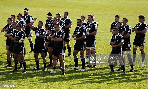 New Zealand Maori All Blacks perform the Haka before the RFU Championship XV and New Zealand Maori All Blacks rugby match at Castle Park on November...