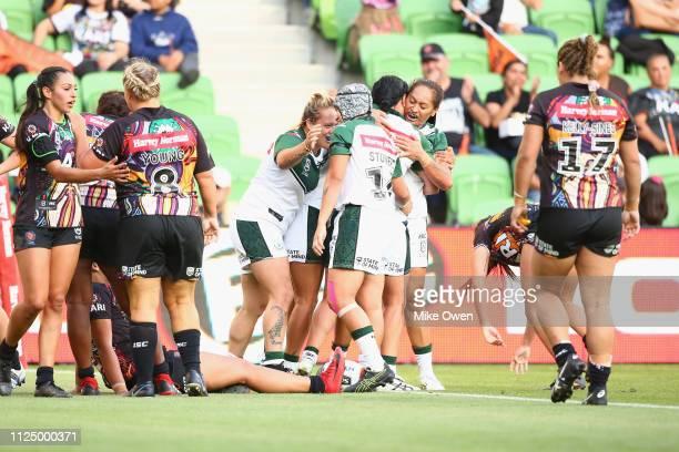 New Zealand Maori Ferns celebrate after Krystal Rota of New Zealand Maori Ferns scores a try during thew NRL Exhibition match between the Women's...