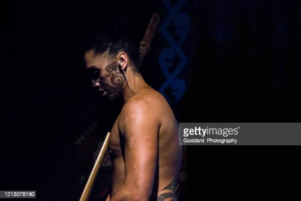 new zealand: maori man - rotorua stock pictures, royalty-free photos & images