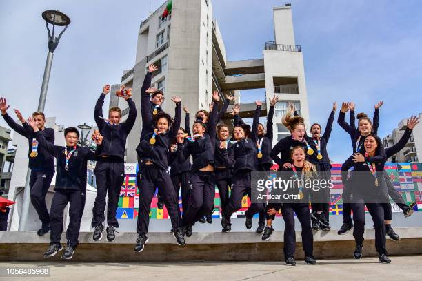 New Zealand medal winners pose during an exclusive photo shoot with New Zealand medal winner on day 12 of Buenos Aires 2018 Youth Olympic Gameson...