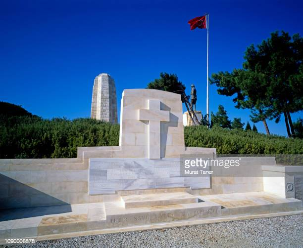 new zealand memorial at gallipoli - memorial plaque stock pictures, royalty-free photos & images