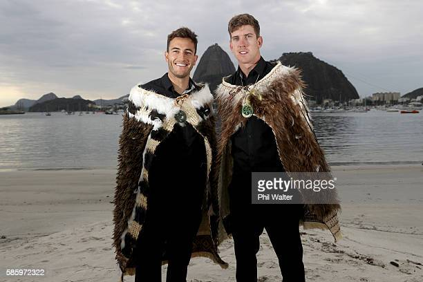 New Zealand Mens 49er sailors for the 2016 Rio Olympic Games Peter Burling and Blair Tuke pose on Botafogo Beach in front of the Sugar Loaf on August...