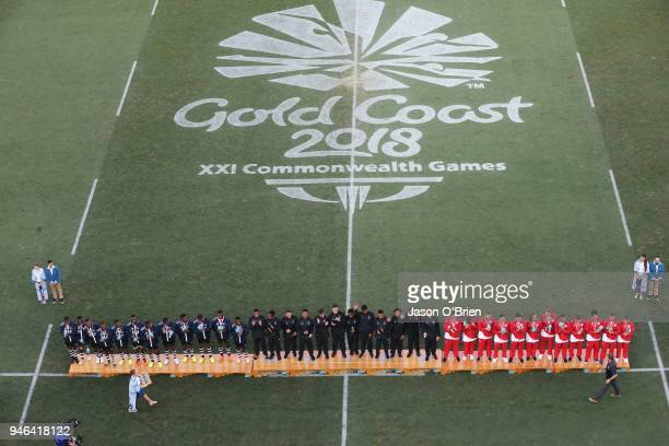 New Zealand Mens team celebrate winning the Gold Medal during Rugby Sevens on day 11 of the Gold Coast 2018 Commonwealth Games at Robina Stadium on...