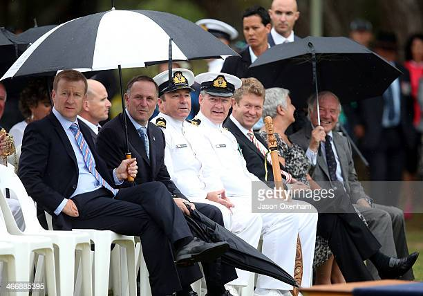 New Zealand Minister of Defence Jonathon Coleman and New Zealand Prime Minister John Key attend the RNZN Beat Retreat and Ceremonial Sunset Ceremony...