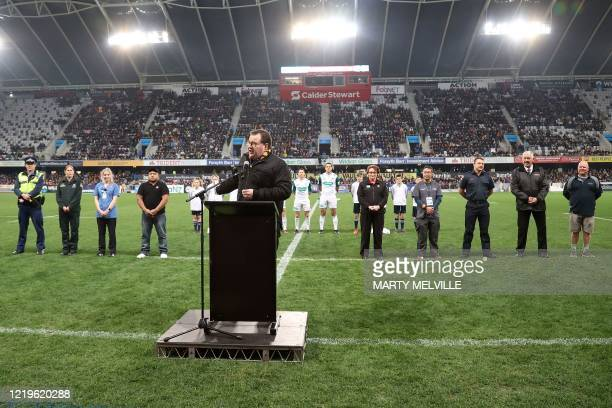New Zealand minister of sport Grant Robertson speaks about the COVID-19 coronavirus before the Super Rugby match between the Otago Highlanders and...