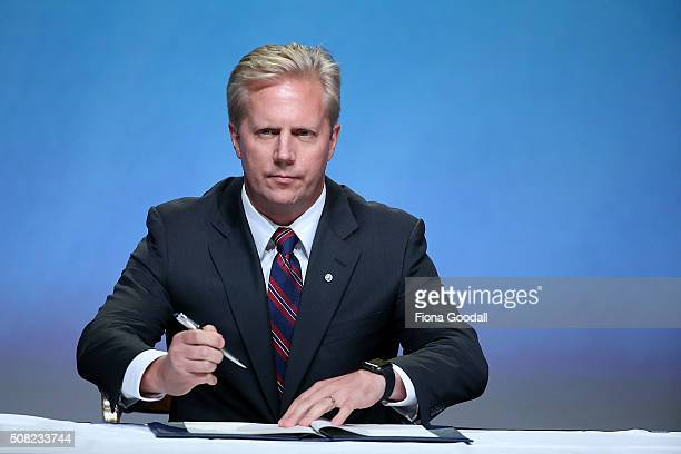 New Zealand Minister of Trade Todd McClay signs the Trans Pacific Partnership at Sky City on February 4 2016 in Auckland New Zealand The signing...