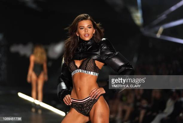 TOPSHOT New Zealand model Georgia Fowler walks the runway at the 2018 Victoria's Secret Fashion Show on November 8 2018 at Pier 94 in New York City...