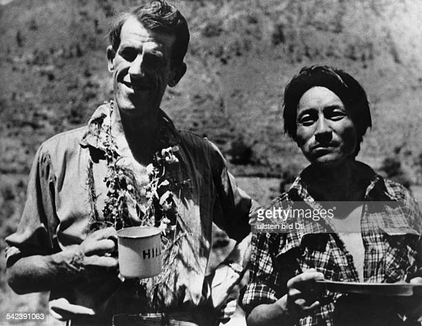 SIR EDMUND HILLARY New Zealand mountaineer and explorer Sir Edmund Hillary with the Sherpa guide Tenzing Norgay before their ascent to the summit of...