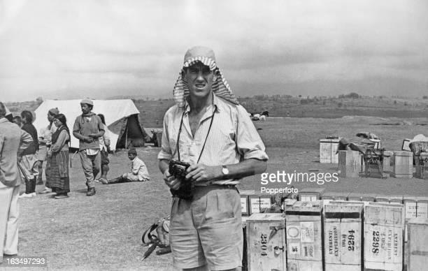 New Zealand mountaineer Edmund Hillary at a camp during preparations for the British Mount Everest Expedition's assault on Everest Bhatgaon Nepal...