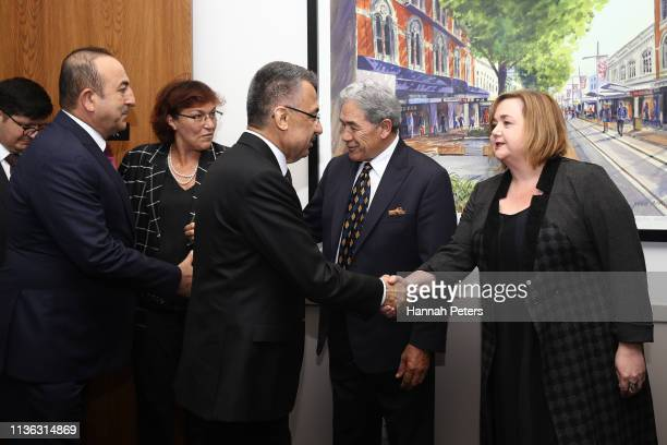 New Zealand MP for Wigram Hon Megan Woods greets Vice President of Turkey, Fuat Oktay while New Zealand Foreign Affairs Minister Winston Peters...