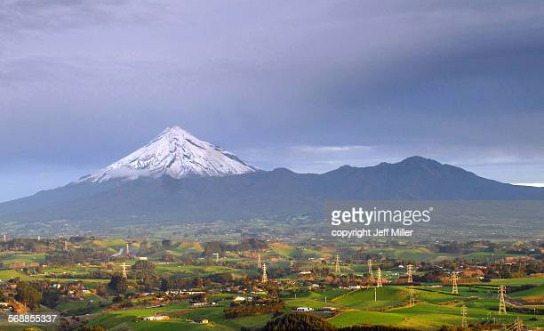 New Zealand, Mt Taranaki (Egmont) above farmland