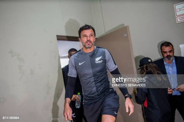 New Zealand national soccer team coach Anthony Hudson arrives at a press conference in Lima on November 14 2017 on the eve of the 2018 World Cup...