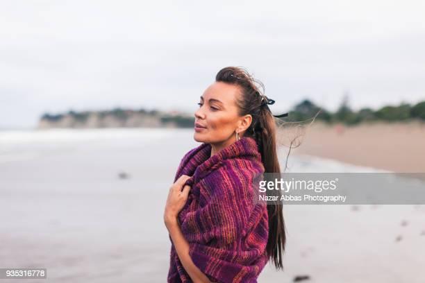 New Zealand Native Maori Woman Portrait.