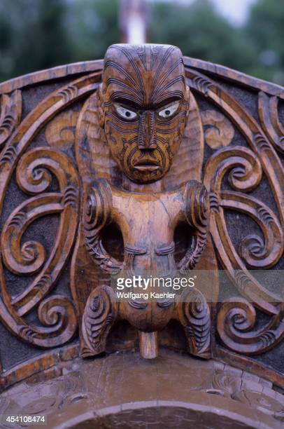 New Zealand Near Rotorua Detail Of Carved Canoe