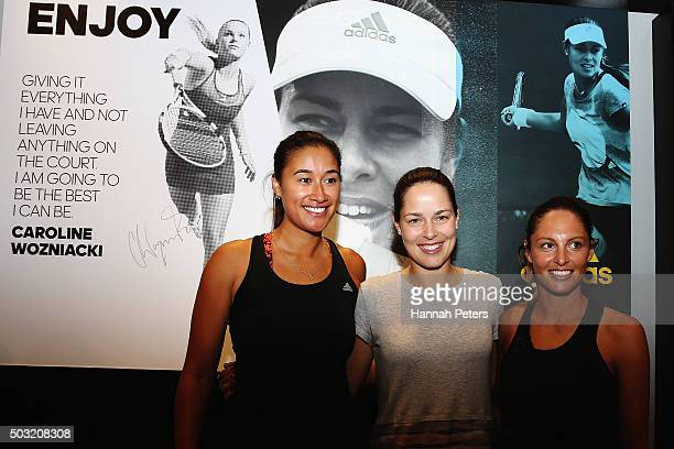 New Zealand netball player Maria Tutaia Ana Ivanovic and TV presenter Makere Bradnam pose for a photo after taking part in an exhibition tennis match...