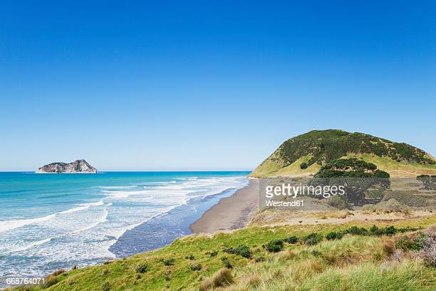 New Zealand, North Island, East Cape, East Cape Lighthouse on hill, South Pacific Ocean