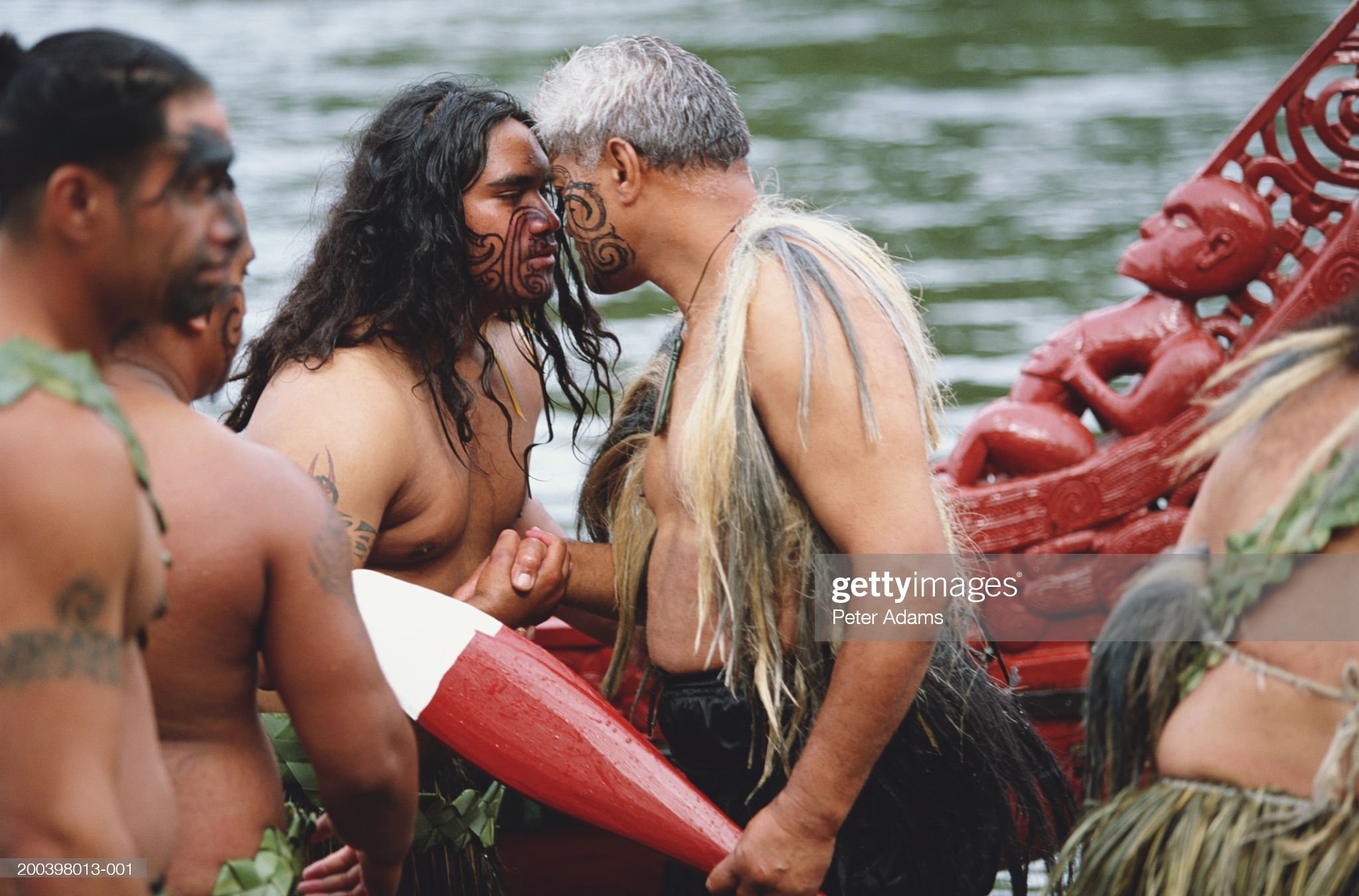 New Zealand, North Island, Maori traditional hongi embrace : Stock Photo