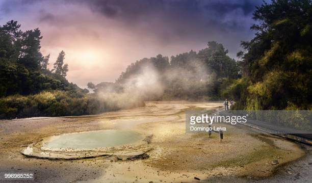 new zealand - north island - rotorua area wai-o-tapu (sacred waters) - rotorua stock pictures, royalty-free photos & images