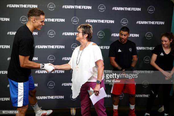New Zealand Olympic Committee CEO Kereyn Smith congratulates boxer David Nyika during the New Zealand Commonwealth Games Boxing Team Announcement at...
