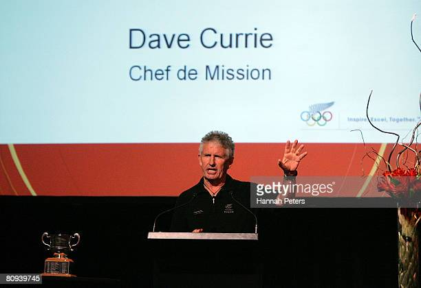 New Zealand Olympic Committee Chef de Mission Dave Currie speaks at the official launch of the New Zealand Olympic team uniform at Villa Maria on...